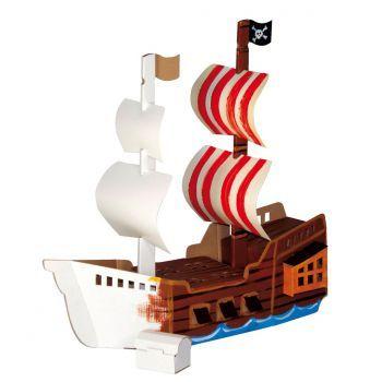 Piratenschiff aus Pappe zum Basteln, Ausmalen und Spielen!-Calafant