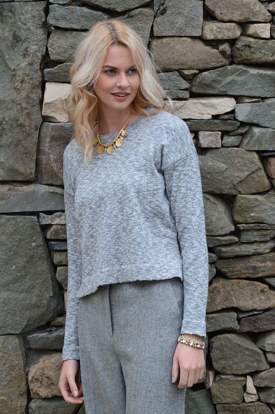 Happy Kinda Life - Your ultimate cold weather staple in a textured pure cotton slub knit that you'll love. Loose fitting style for casual elegance, round neck, long sleeve jumper, flattering whatever way you wear it.