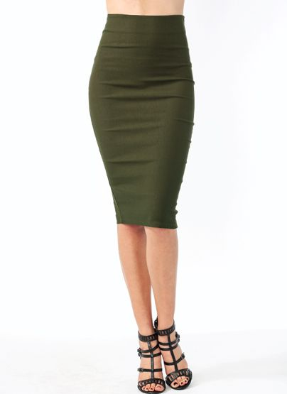 The-Perfect-Midi-Pencil-Skirt BLACK BURGUNDY OLIVE RED - GoJane ...