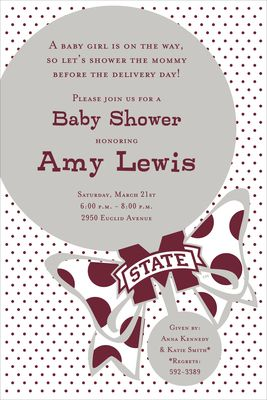 Mississippi State Rattle Baby Shower Invitations