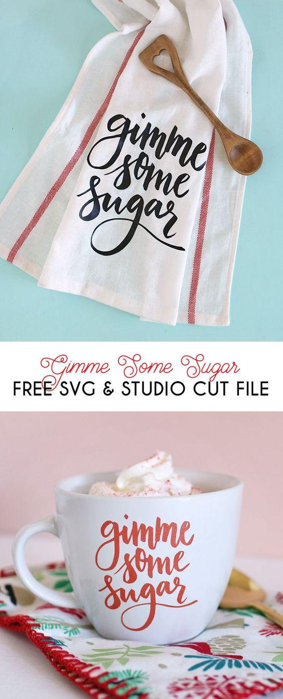 """Free svg and silhouettFree svg and silhouette studio cut files - makes adorable """"gimme some sugar"""" baking-themed gifts - DIY mug and DIY dish cloth with vinyl and your silhouettee studio cut files - makes adorable """"gimme some sugar"""" baking-themed gifts -"""