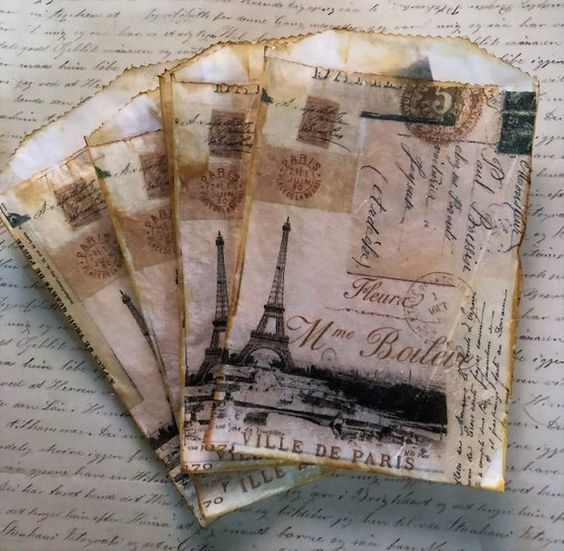 Eiffel Tower Glassine Favor Bags, Small size, Collage, Vintage, Paris, Art Journal, Junk Journal, Mini Album,Ephemera, Tea Stain, Decoupage