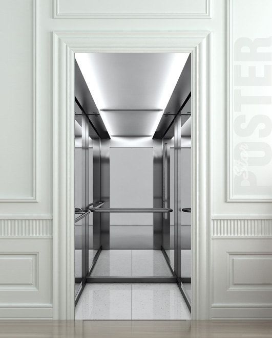 Door sticker lift elevator lift lobby pinterest for Elevator flooring options