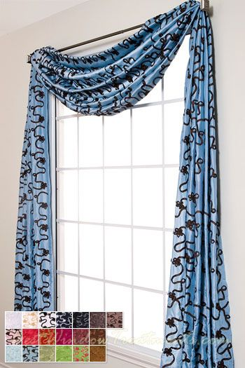 Bliss Ribbon Scarf Swag Window Topper available in 19 colors | A ...