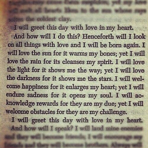 I will greet this day with love.