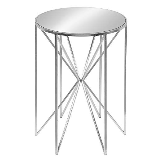 Kate And Laurel Triggs Modern Luxe Round Mirrored Metal End Table Silver Leaf 17 5 Inch Diameter X 20 Inches Metal End Tables End Tables Small Accent Tables
