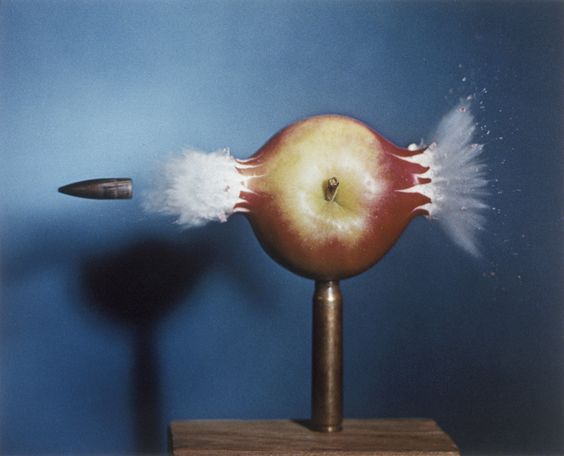 """Bullet Through Apple"" (1964), by Harold E. Edgerton. Courtesy of the M.I.T. Museum."
