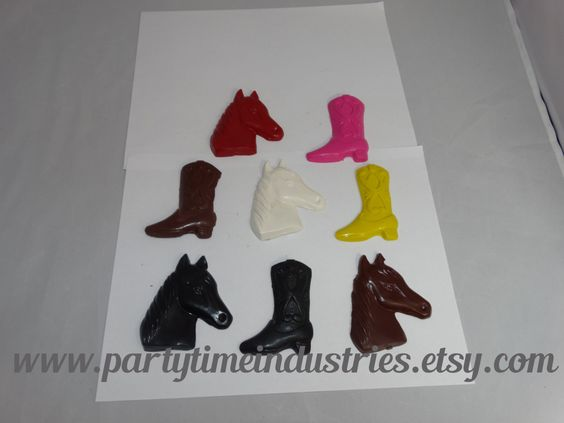 2 Western Country Crayons shaped as Horse and Boot by PartyTimeIndustries on Etsy
