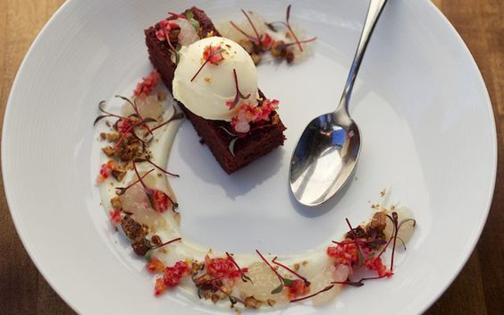 Beetroot cake with goats milk ice-cream