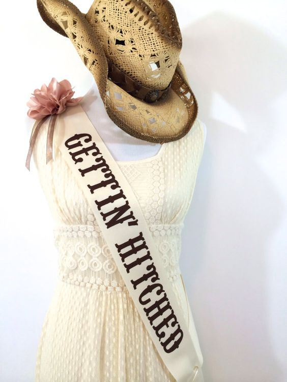 Cowgirl country sash.  Etsy listing at https://www.etsy.com/listing/157369291/cowgirl-bachelorette-sash