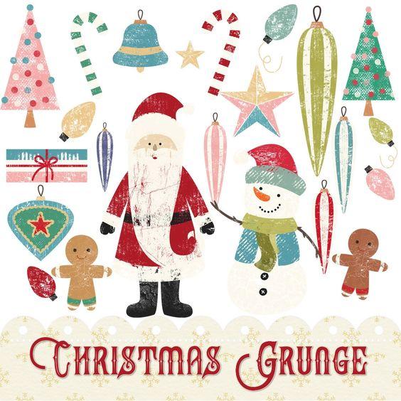 Christmas Clipart, Retro Christmas, Christmas, Clip Art, Instant ...