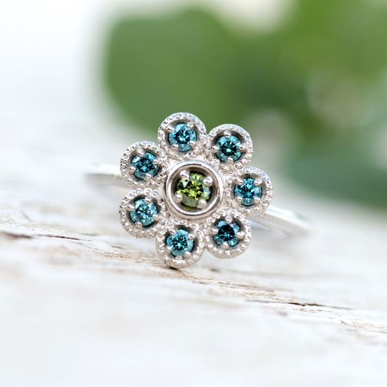 Floral Blue Green Diamond Engagement Ring White Gold Mermaid - Sereia by  NangijalaJewelry on Etsy https