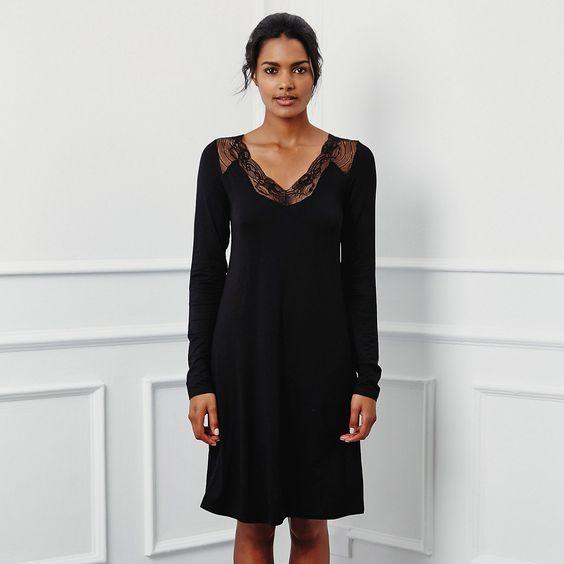 V Lace Trim Jersey Nightie - Black | The White Company