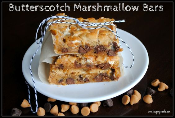 Butterscotch Marshmallow Bars- gooey and delicious #butterscotch #chocolate www.shugarysweets.com: Marshmallow Bar, Fun Recipe, Bars Shugarysweets, Cookies Bars, Bars Brownies, Savory Recipe, Bar Cookies, Marsh Bar