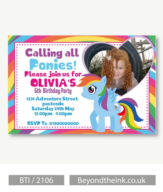 Personalised My Little Pony Heart Photo Invitations.  Printed on Professional 300 GSM smooth card with free envelopes & delivery as standard. www.beyondtheink.co.uk