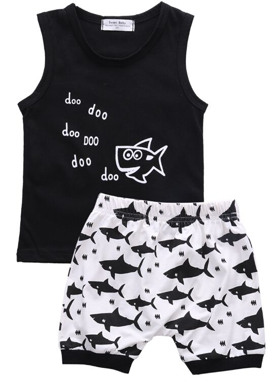 Newborn Infant Baby Girls Boys Cute Shark T shirt Tops Shorts Outfit Clothes Set