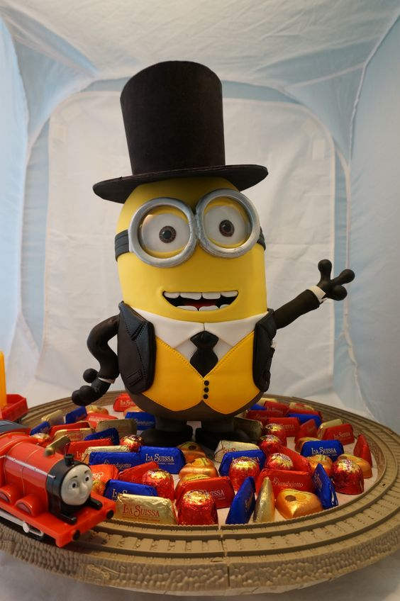 Minion dressed as Fat Controller in Thomas the Tank Engine - http://www.facebook.com/pages/My-Sweet-Obsession/162370857254867