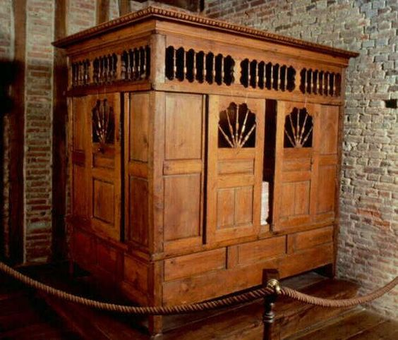 Lits-clos or box bed, a traditional  piece of Breton furniture from times when many people shared one room: