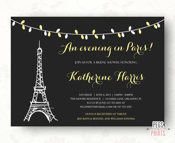 Evening in paris bridal shower invitation parisian for Paris themed invitations bridal shower