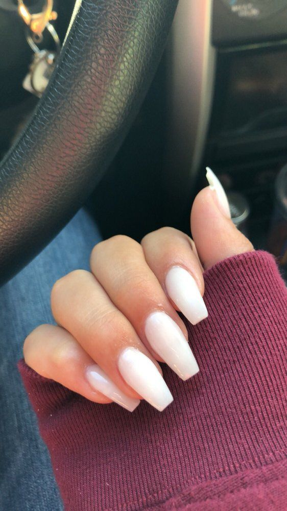 Soft White Acrylic Coffin Nails With No Color Yelp White Acrylic Nails White Coffin Nails Coffin Nails
