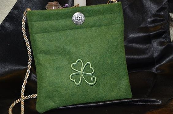 Green Wool Shoulder Purse with Sea Foam by MotherMoonsMakings, $20.00