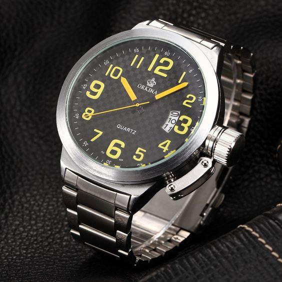 $24.99 (Buy here: https://alitems.com/g/1e8d114494ebda23ff8b16525dc3e8/?i=5&ulp=https%3A%2F%2Fwww.aliexpress.com%2Fitem%2FRelojes-Mujer-2016-New-Clock-Men-festina-Tough-Large-Dial-Stainless-Steel-Mens-Sport-Quartz-WatchCool%2F32612155424.html ) 52MM Large Black Dial ORKINA Mens Big Case Silver Man Sport Clock Auto Date Quartz Wrist Watch Men Relogio Masculino Watches for just $24.99