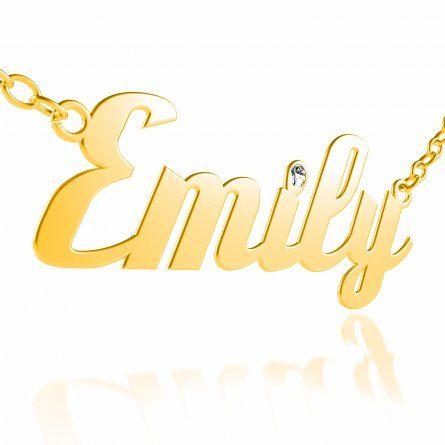 Namenskette in Gold mit echtem Diamant in Brillantschliff #Namenskette #Gold #Geschenkidee #personalisiert