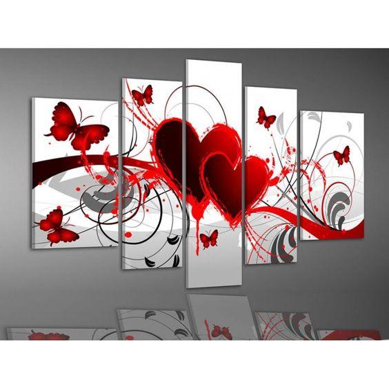 Tableau peinture amour printanier tableau peinture triptyques pas chers de - Tableau moderne pas cher ...