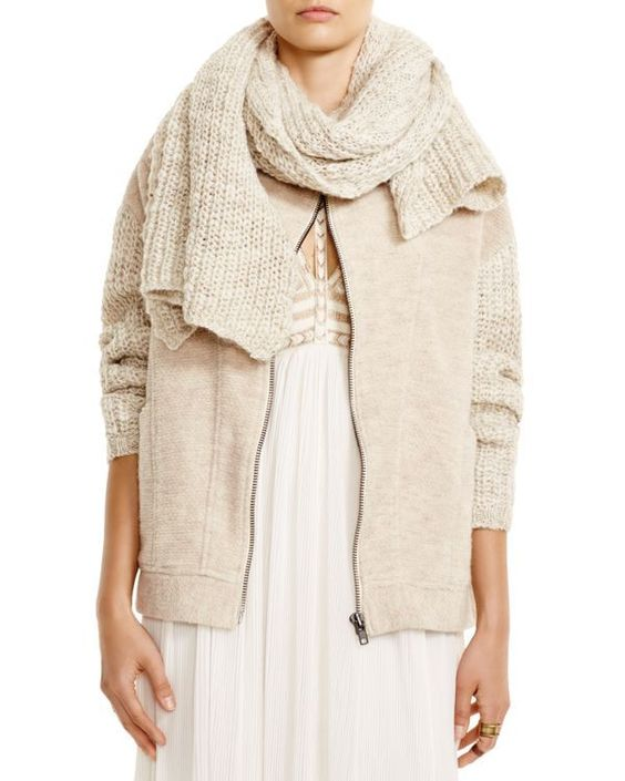 Free People Scarf-Trimmed Sweater Jacket