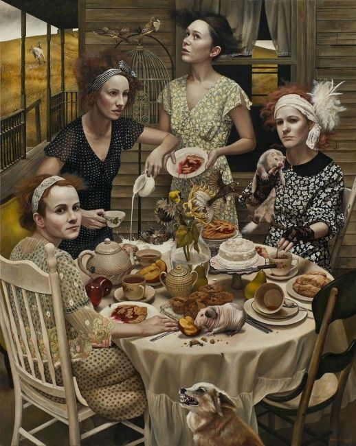 An Invitation ~ Andrea Kowch...strange tea party but a good cup of tea is a good cup of tea.: