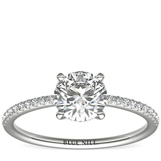 Petite Micropave Diamond Engagement Ring In Platinum 1 10 In 2020 Custom Diamond Engagement Rings Pave Diamond Engagement Rings 14k White Gold Diamond Engagement Ring