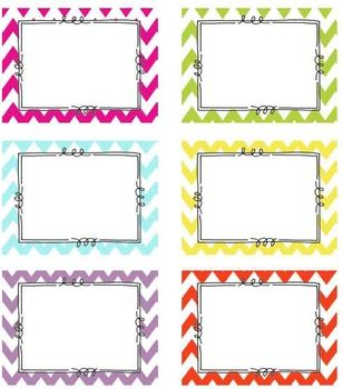 Editable chevron tags classroom labels 6 bright chevron for Room labels