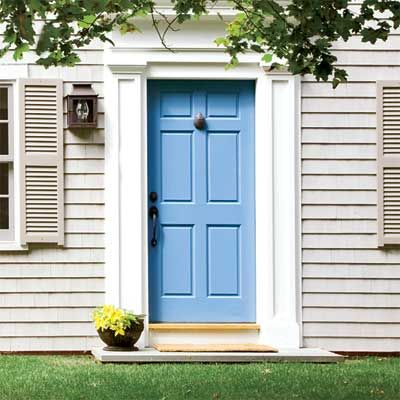 This breezy cool blue  front door is as refreshing as a tall glass of water on a hot day!