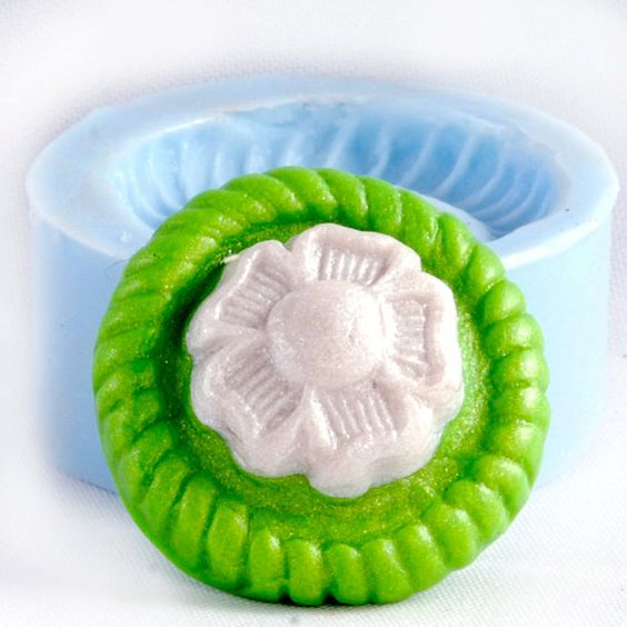 Flower cabochon mold  flexible silicon  clay by MoldMeShapeMe, $5.00