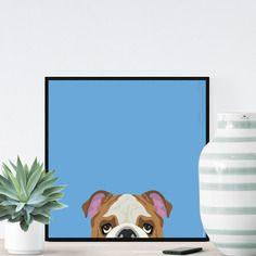 Chien bulldog sur fond bleu- 23x23cm