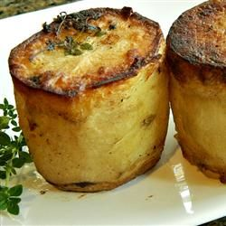 Fondant Potatoes.  Crispy outside. Creamy inside. A magical tower of potato loving. sub veg broth
