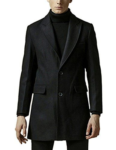 cool Ckliximen Selected Men's Slim Blazer Collar Trench Coat(Black,US Large (Tag XX-Large))