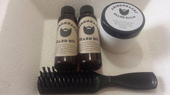 Adirondacks Beard Oil - 2oz (2 bottles) + Beard Balm + Beard Brush kit for Men #Adirondacks