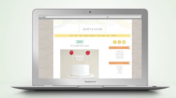 """Happy"" PreMade Wordpress Blog Template...I like the banners, linen background and white space."