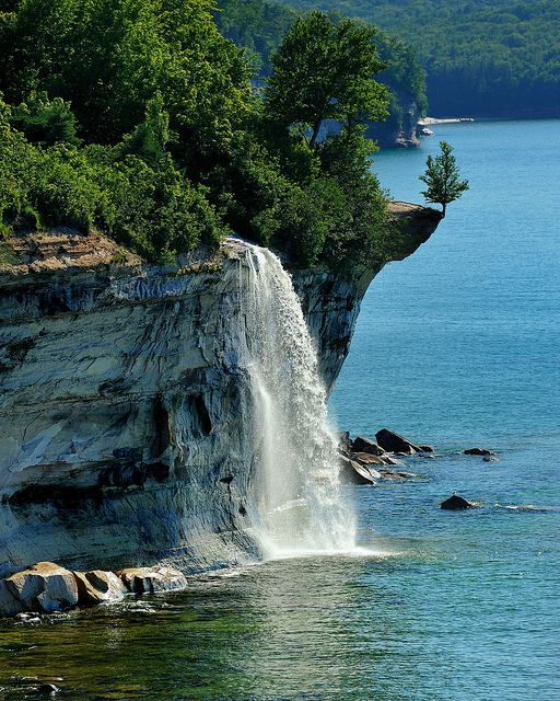 Spray Falls at Pictured Rocks National Lakeshore in Michigan