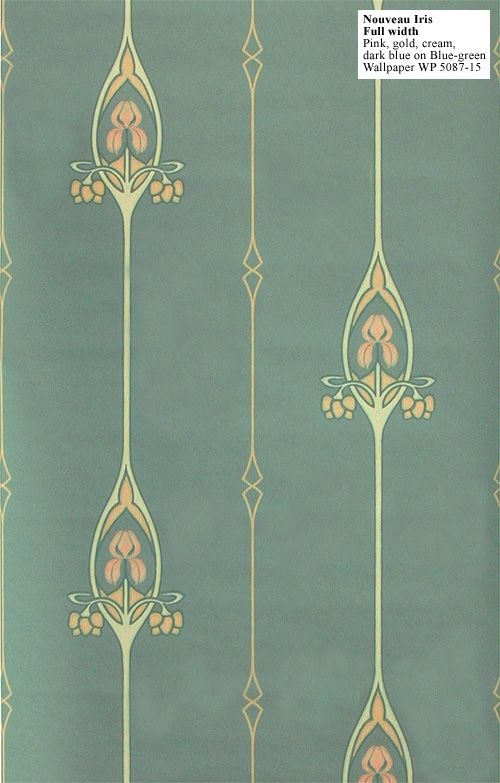 Irises wallpapers and art nouveau wallpaper on pinterest for Art nouveau wallpaper uk