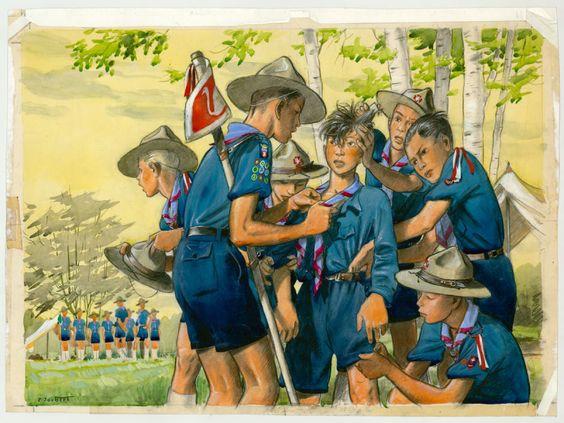Calendrier des scouts Baden-Powell de Belgique ( mois de Mars 1953)