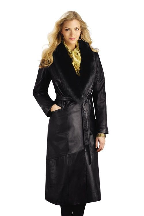 Black leather trench coat with fur collar | Coat, Leather coat ...