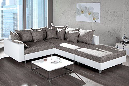 http://ift.tt/1O0EsgI Design Ecksofa mit Hocker LOFT weiss Strukturstoff grau Federkern Sofa OT rechts  @salelase#