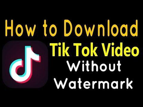 Download Tiktok Video Without Watermark Tik Tok Tok Video