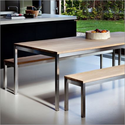 Ethos oak basic table solid oak and stainless steel for Basic dining table