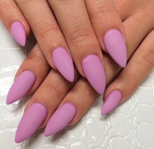 Stiletto nails in matte pink? Yes please!