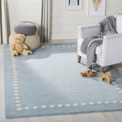 Three Posts Baby Kids Stonecrest Handmade Tufted Wool Blue Area Rug Kids Rugs Colorful Rugs Area Rugs