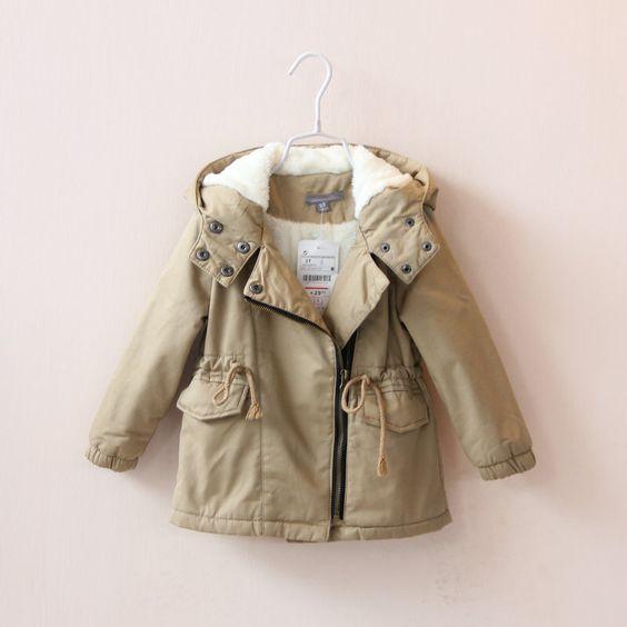 Children Girls Winter Coats Plus Velvet Thick Hooded Sherpa Cotton