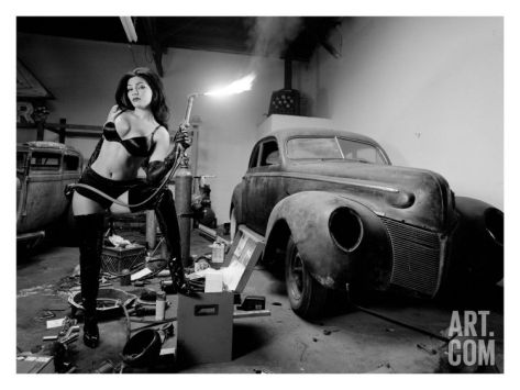 Pin-Up Girl: Rat Rod Blow Torch Giclee Print by David Perry at Art.com